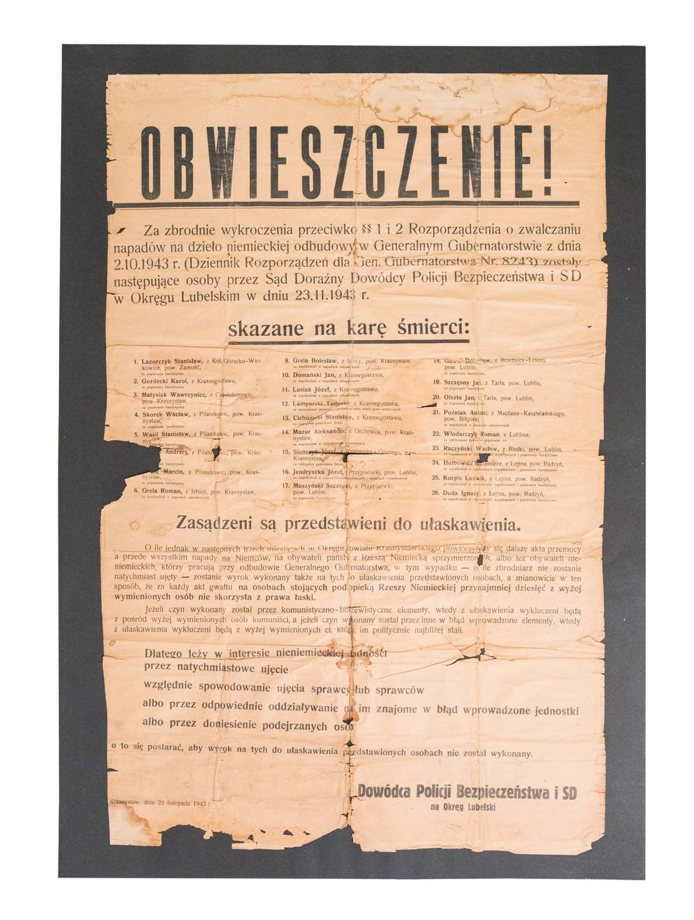Print – Announcement of the Commander of the Security Police and SD for the Lublin District on the death penalty, paper, print, Krasnystaw, 23 November 1943