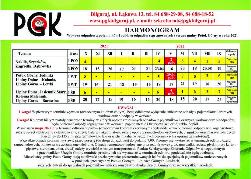 Harmonogram odbioru odpadów komunalnych 2021/2022