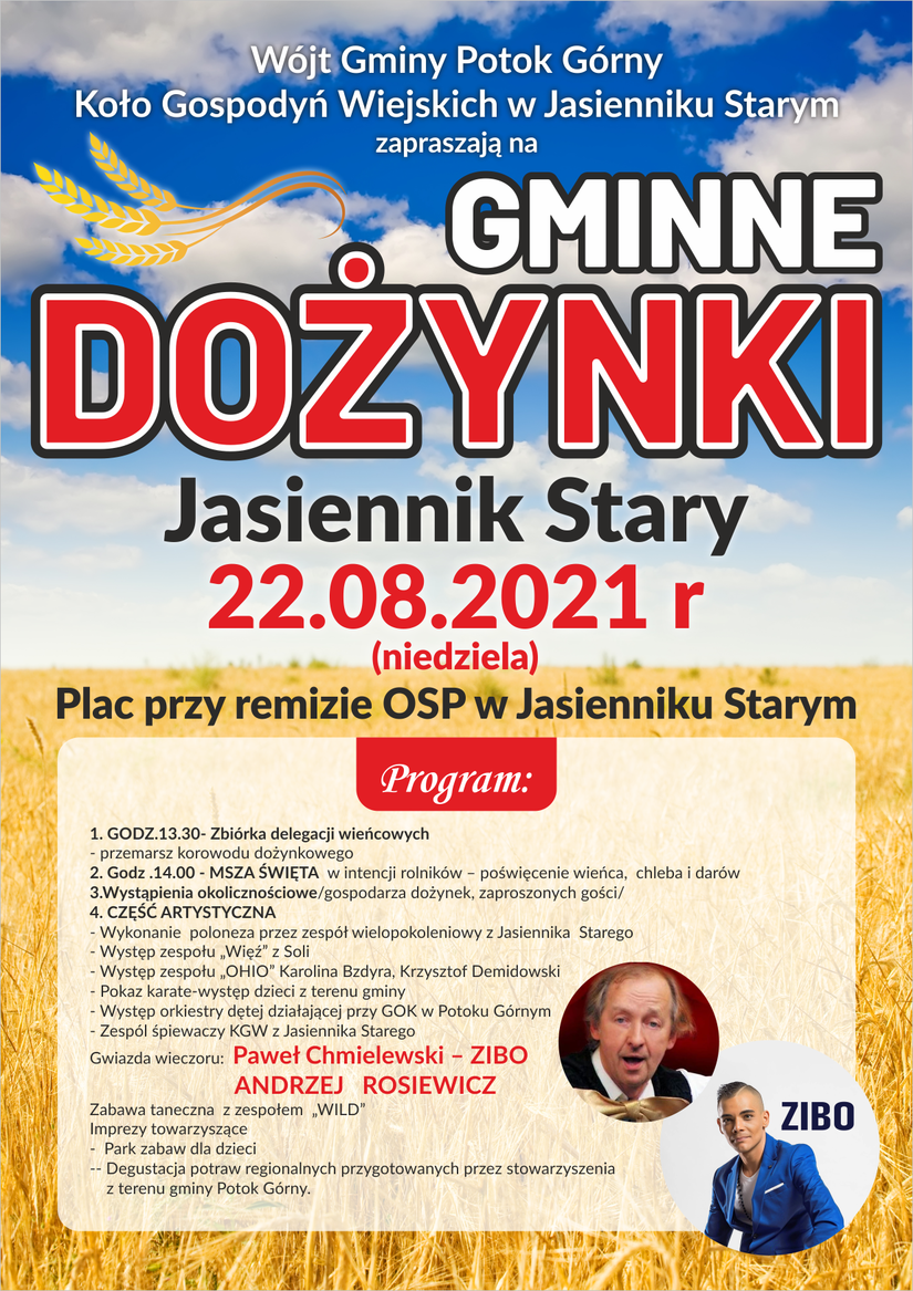 Plakat Zaproszenie na Dozynki Gminne