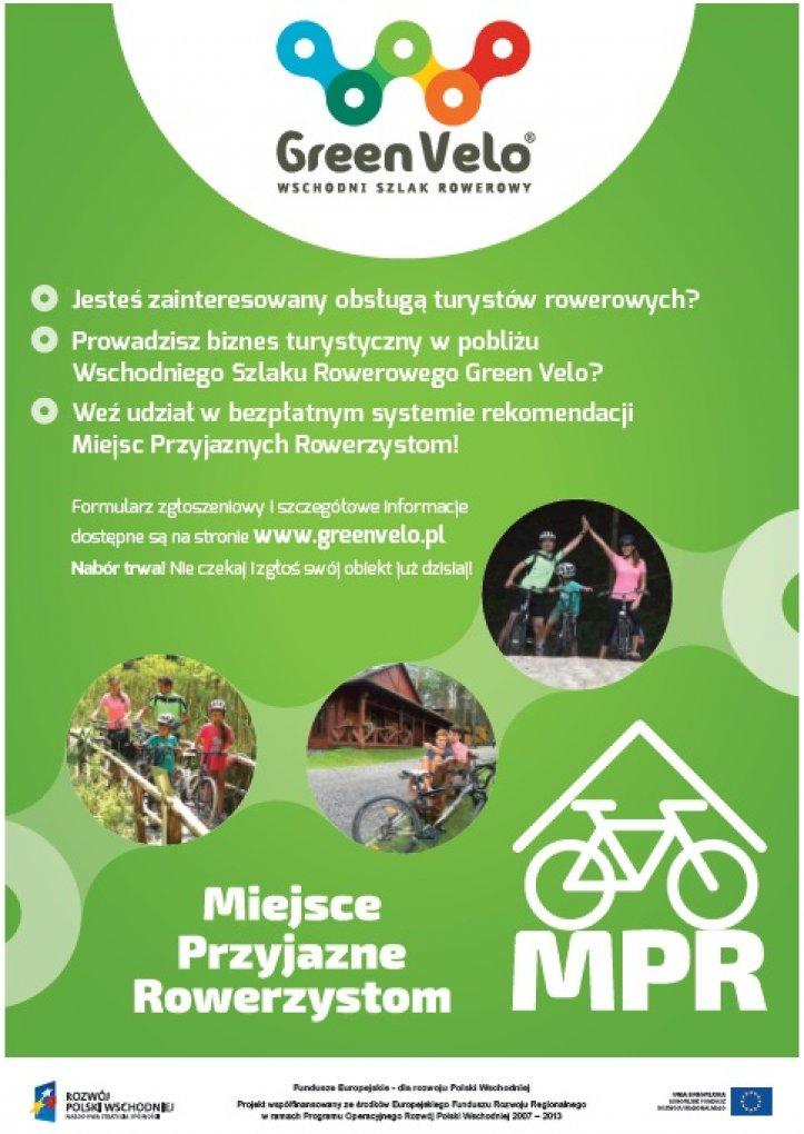 Green Velo WSCHODNI SZLAK ROWEROWY Jesteś zainteresowany obsługą turystów rowerowych? Prowadzisz biznes turystyczny w pobliżu Wschodniego Szlaku Rowerowego Green Velo? Weź udział w bezpłatnym systemie rekomendacji Miejsc Przyjaznych Rowerzystom! Formularz zgłoszeniowy I szczegółowe Informacje dostępne są na stronie WWW.greenvelo.pl Nabór trwa Nie czekaj!  zgłoś swój obiekt już dzisla l Miejsce Przyjazne Rowerzystom