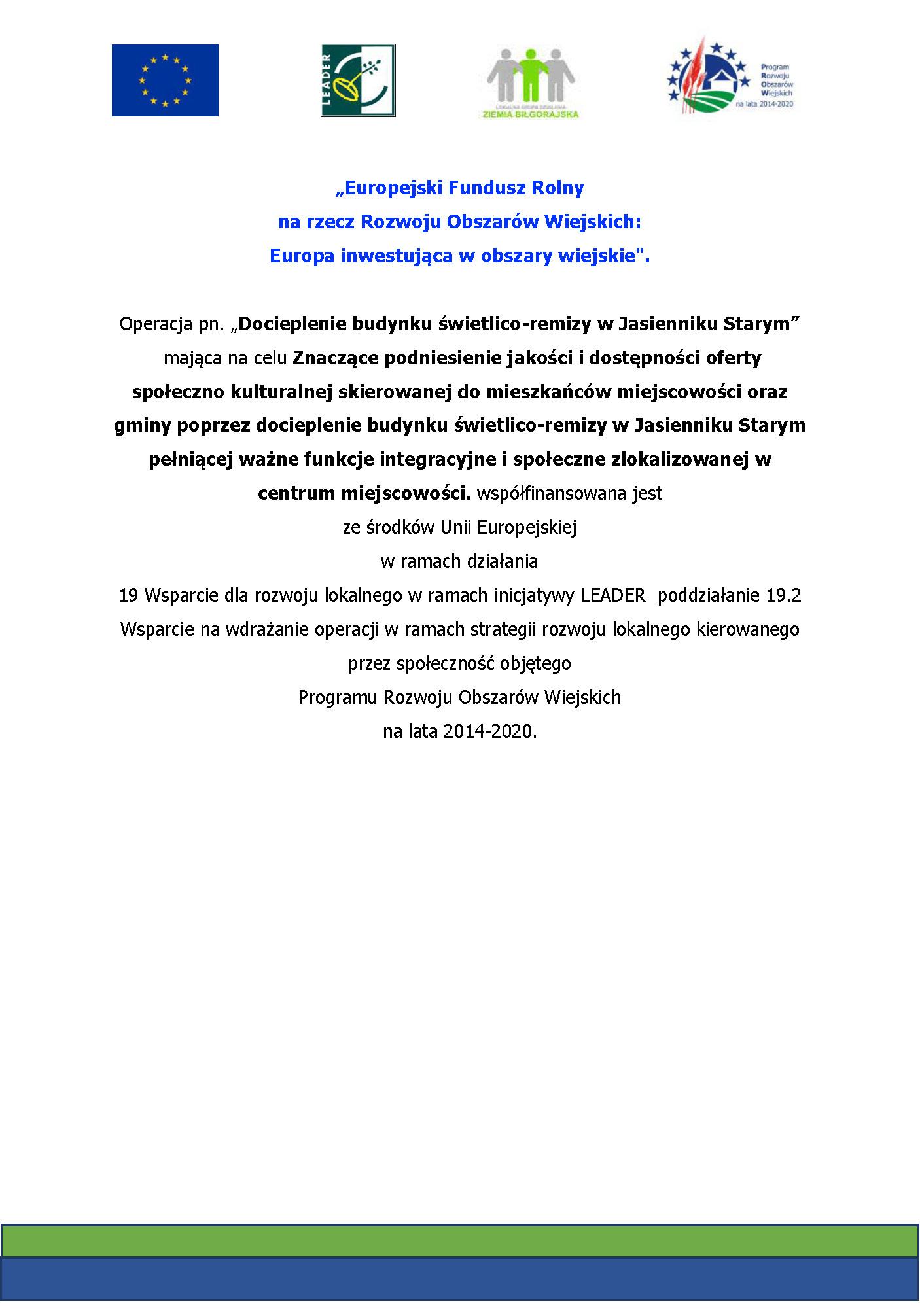 Plakat z logotypami dofinansowania i teksem Program Rozwoju Obszarów Wiejskich na lata 2014-2020 ZIEMIA BILGORAJSKA