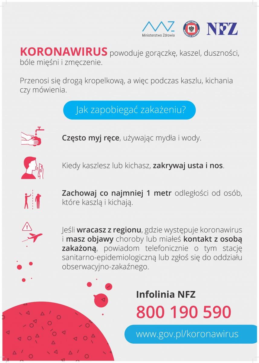 Plakat z informacjami: Ministerstwo Zdrowia KORONAWIRUS powoduje gorączkę, kaszel, duszności, bóle mięśni i zmęczenie. Przenosi się drogą kropelkową, a więc podczas kaszlu, kichania czy mówienia. Jak zapobiegać zakażeniu? Często myj ręce, używając mydła i wody. Kiedy kaszlesz lub kichasz, zakrywaj usta i nos. Zachowaj co najmniej 1 metr odległości od osób, które kaszlą i kichają. Jeśli wracasz z regionu, gdzie występuje koronawirus i masz objawy choroby lub miałeś kontakt z osobą zakażoną, powiadom telefonicznie o tym stację sanitarno-epidemiologiczną lub zgłoś się do oddziału obserwacyjno-zakaźnego. Infolinia NFZ 800 190 590 www.gov.pl/koronawirus