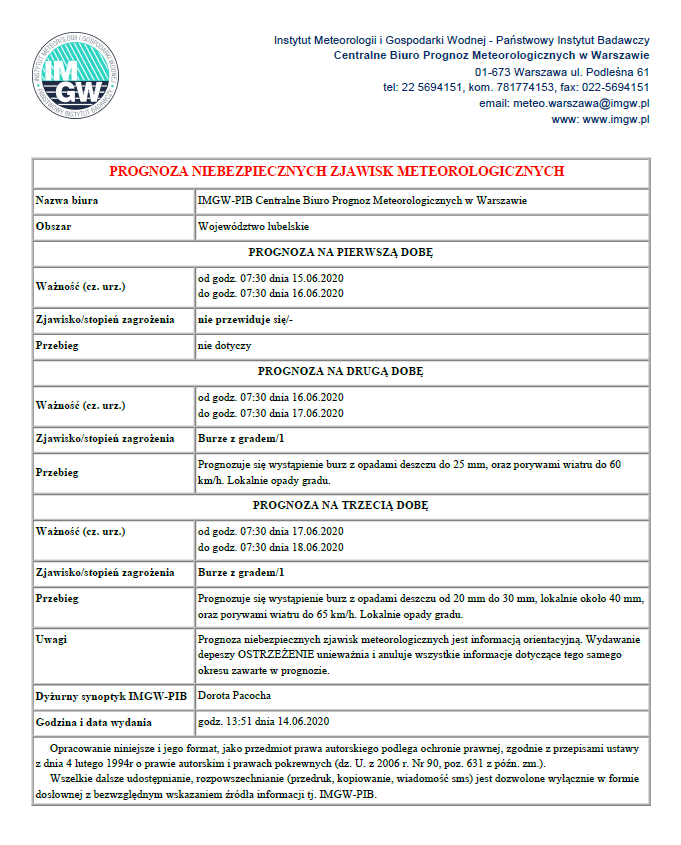 Ostrzeżenie meteorologiczne 15-18.06.2020 r.