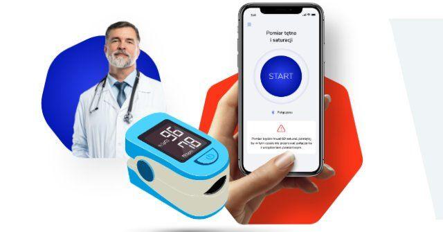Na zdjęciu znajduje się lekarz, pulsoksymetr i telefon komórkowy