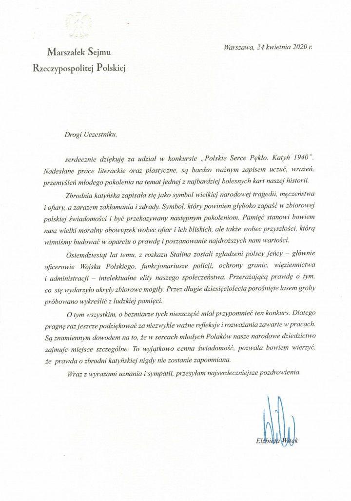 Monika Cieślak - podziękowania od p. Elżbiety Witek