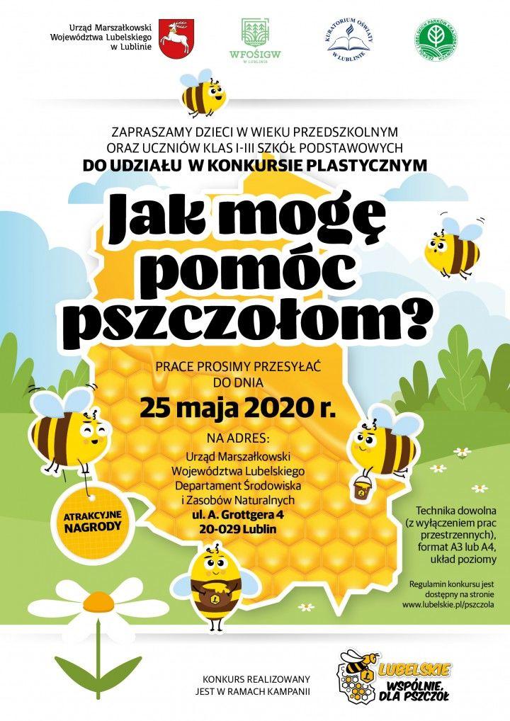 Plakat dotyczący konursu Jak mogę pomóc pszczołom?