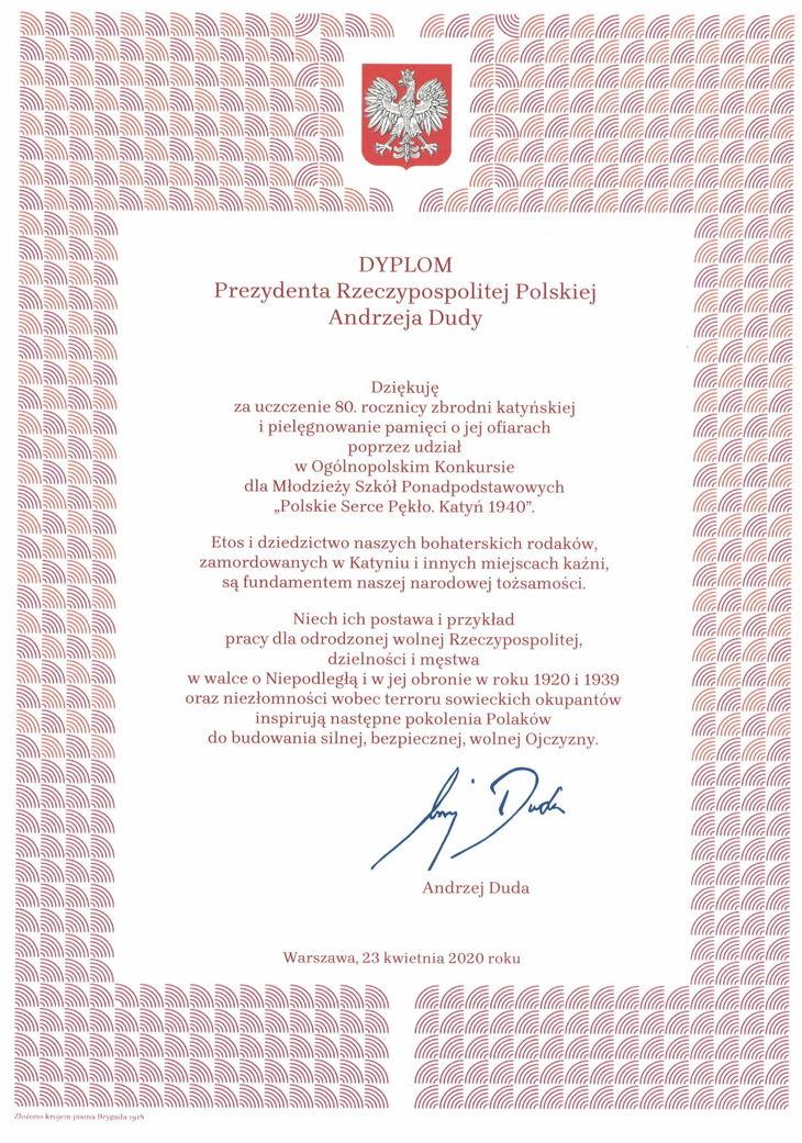 Monika Cieślak - dyplom od p. Prezydenta