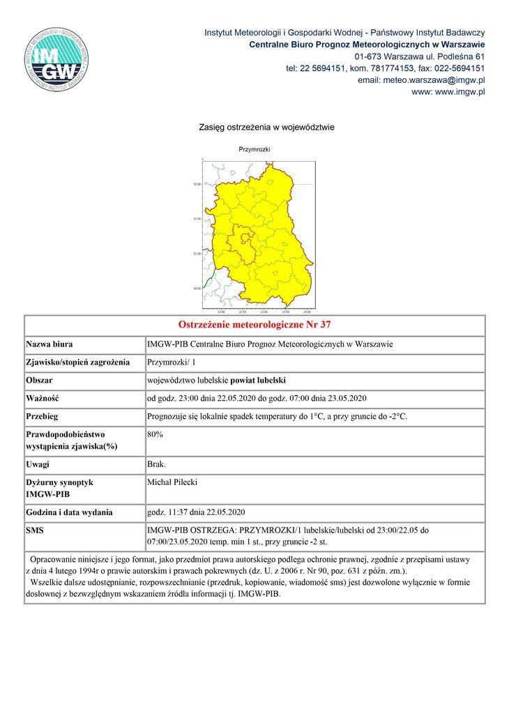 Ostrzeżenie meteorologiczne na dni 22-23 maja 2020