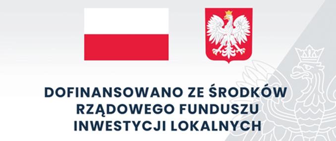 Baner - Flaga i godło Polski - Dofinansowano z Logo Rządowy Funduszu Inwestycji Lokalnych