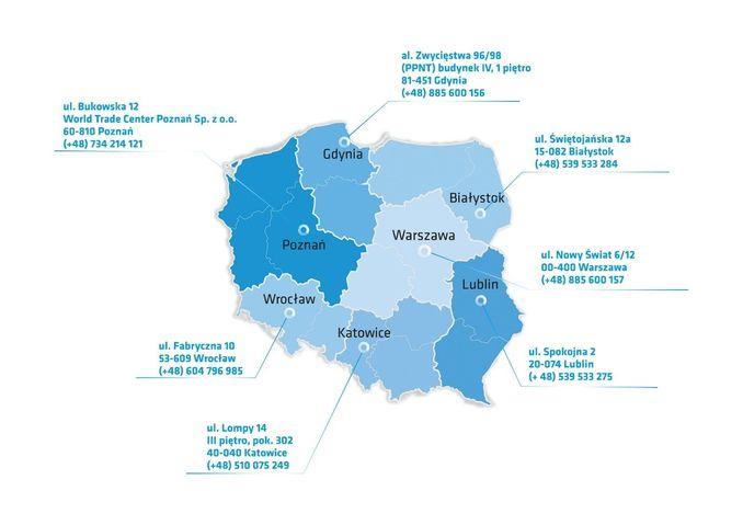 Mapa Polski z zaznaczeniem adresów Centrów Ogsługi Przedsiębiorców w miastach tj. Warszawa, Lublin, Białystok, Katowice, Wrocław, Poznań, Gdynia