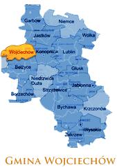 Grafika przedstawia Gmine Wojciechów na mapie