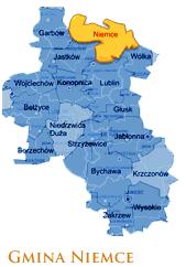 Grafika przedstawia Gmine Niemce na mapie