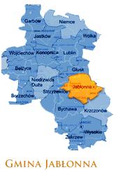 Grafika przedstawia Gmine Jabłonna na mapie