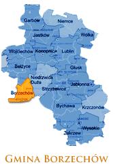 Grafika przedstawia Gmine Borzechów na mapie