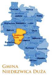 Grafika przedstawia Gmine Niedrzwica Duża na mapie