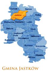 Grafika przedstawia Gmine Jastków na mapie