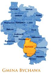 Grafika przedstawia Gmine Bychawa na mapie