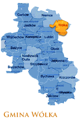Grafika przedstawia Gmine Wólka na mapie