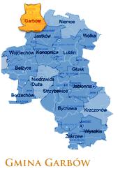 Grafika przedstawia Gmine Garbów na mapie