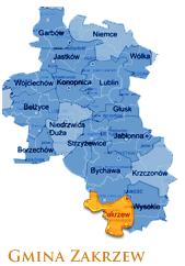 Grafika przedstawia Gmine Zakrzew na mapie