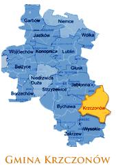Grafika przedstawia Gmine Krzczonów na mapie