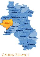 Grafika przedstawia Gmine Bełżyce na mapie