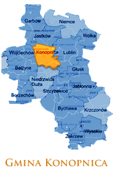 Grafika przedstawia Gmine Konopnica ma mapie