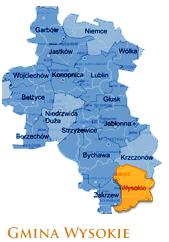 Grafika przedstawia gmine Wysokie na mapie