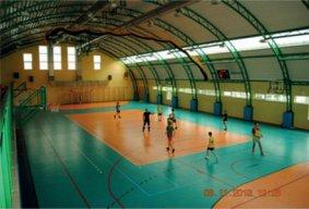 Sala gimnastyczna, dzieci grający w piłkę
