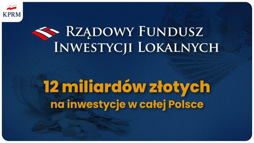 grafika KPRM RZĄDOWY FUNDUSZ INWESTYCJI LOKALNYCH 12 miliardów złotych na inwestycje w całej Polsce W