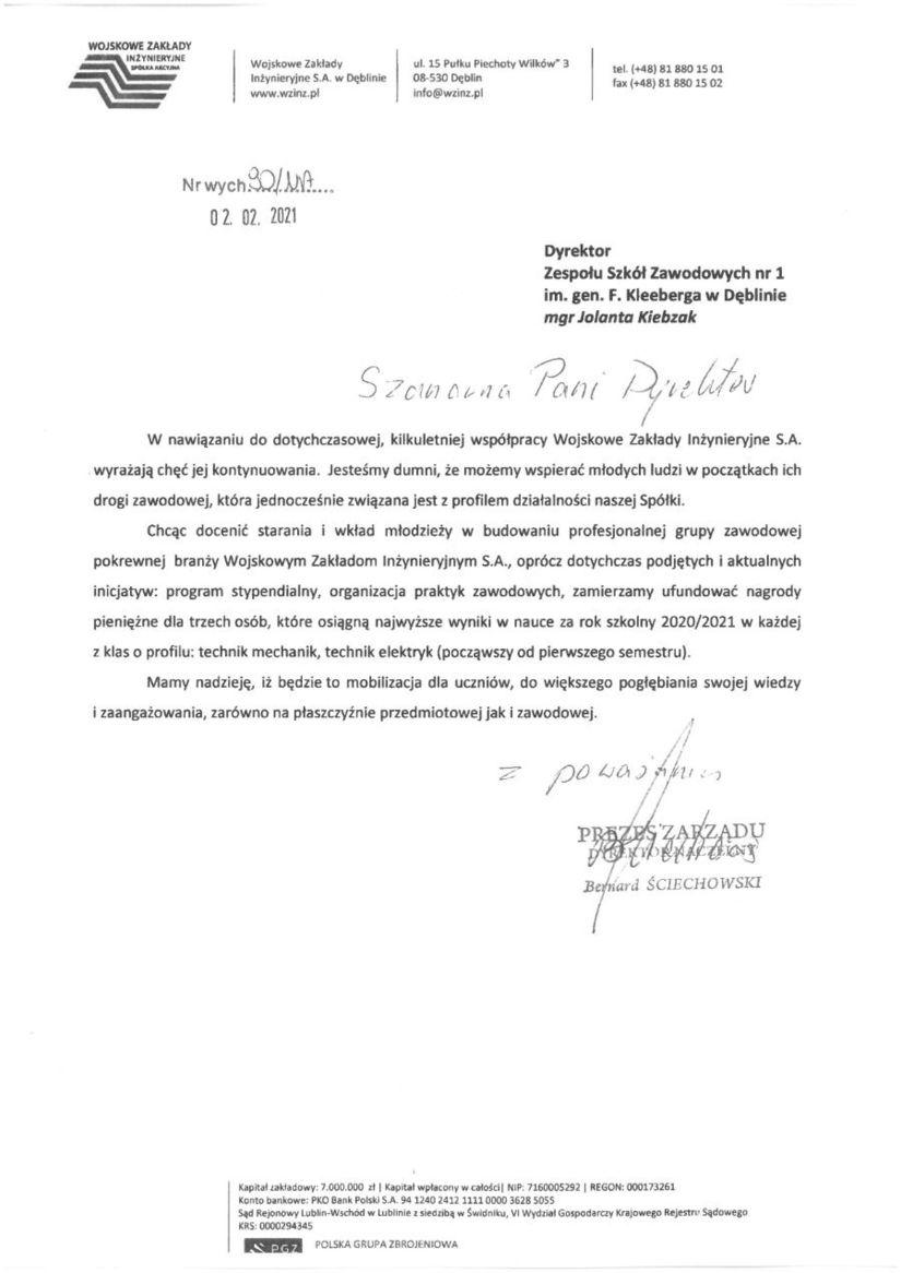 Pismo WOJSKOWE ZAKŁADY INZYNIERYJNE Wojskowe Zakłady Inżynieryjne S.A. w Dęblinie www.wzinz.pl ul. 15 Putku Piechoty Wilków