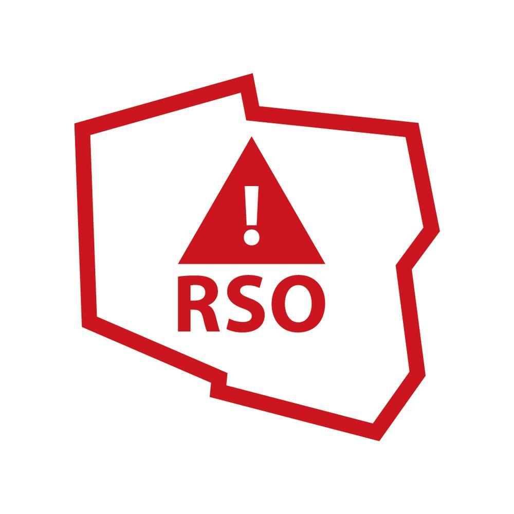 Logo RSO - Obrys Polski w środku obrysu trójkąt z wykrzyknikiem i literami RSO