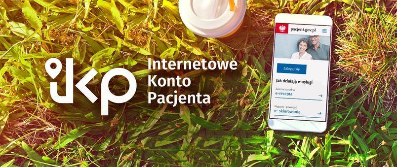 Baner trawa z logo Internetowe konto pacjenta
