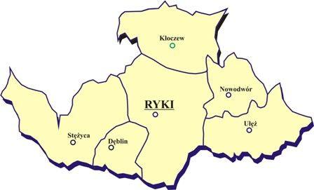 Mapa Powiatu Ryckiego z podziałem