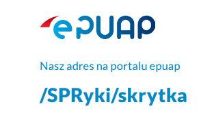 Logo epuap z napisem Nasz adrse na portalu epuap /SPRyki/skrytka