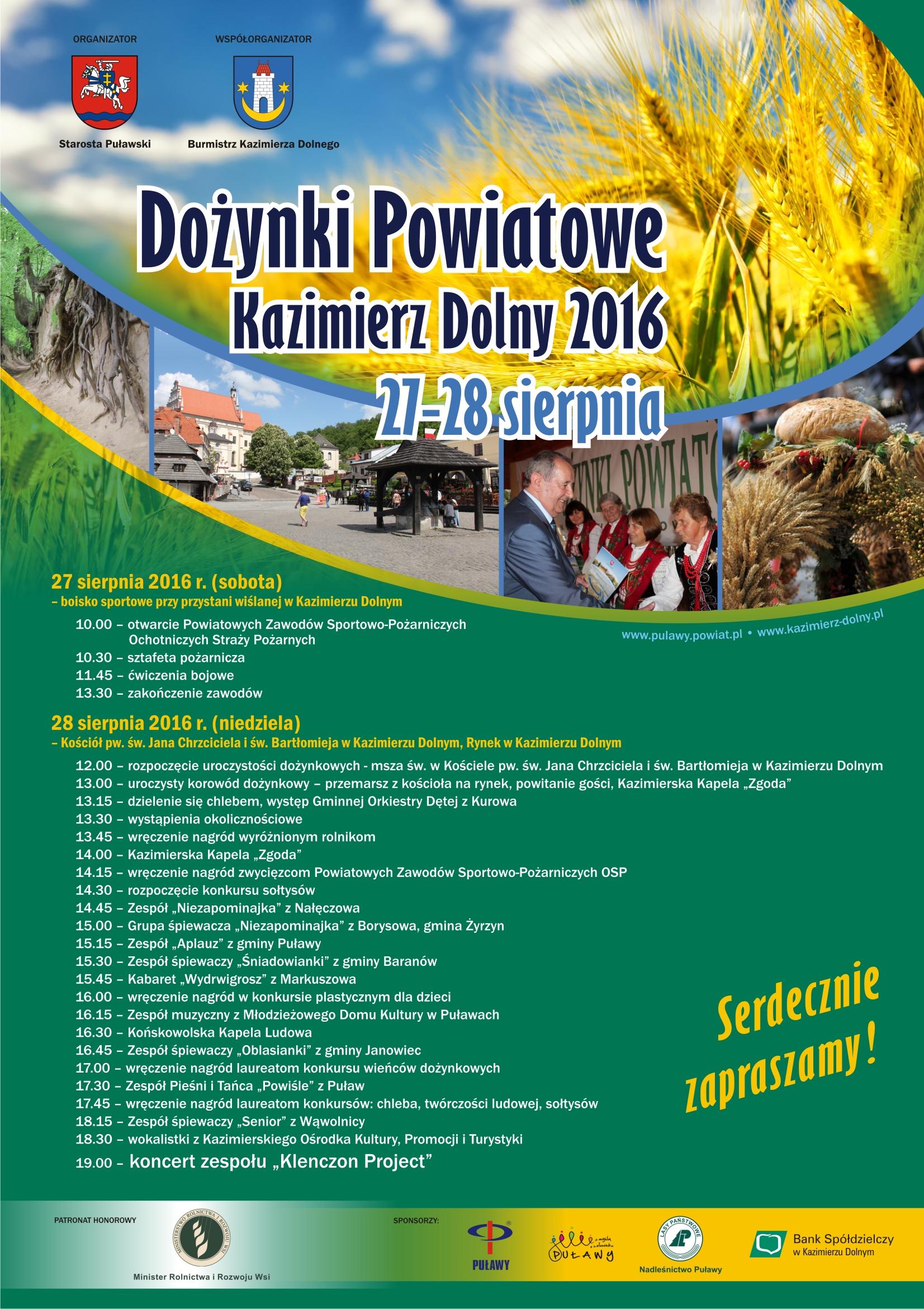 Zaproszenie na Dożynki Powiatowe Kazimierz Dolny 2016