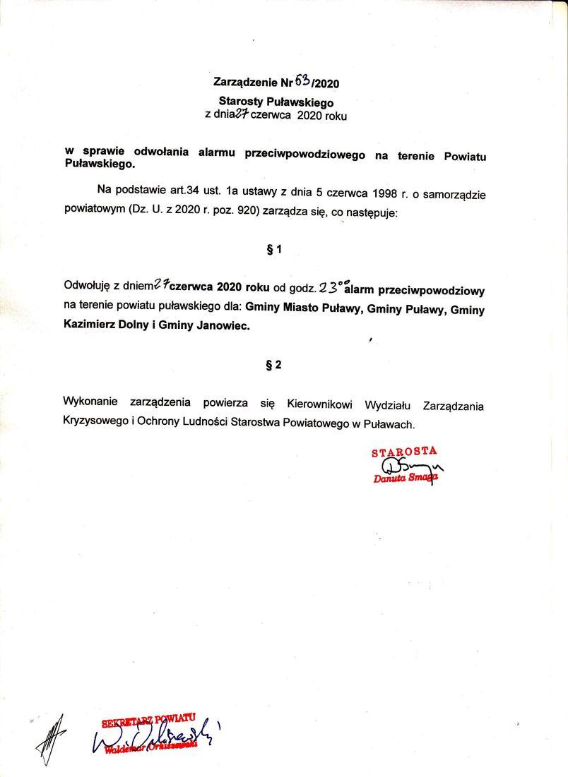 Zarządzenie Nr 63/2020 Starosty Puławskiego z dnia 27 czerwca 2020 r.