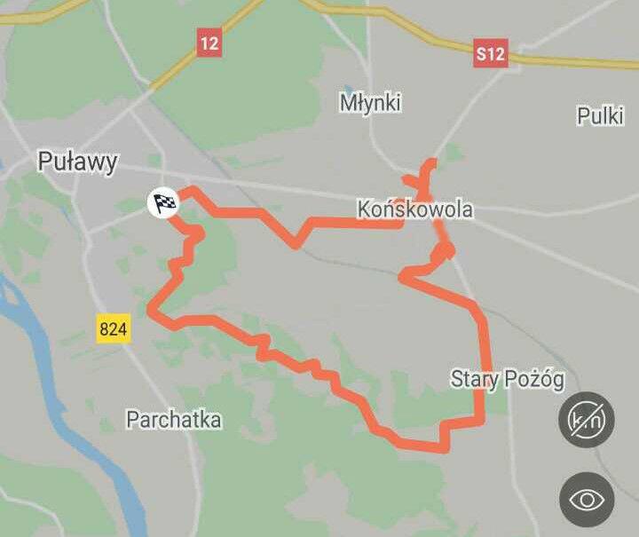 Mapa rowerowego przejazdu Puławy - Pożóg - Końskowola - Puławy