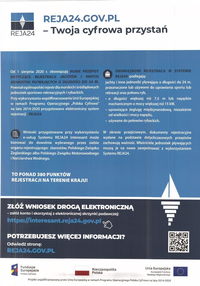 Reja24.gov.pl - plakat informacyjny. Twoja cyfrowa przystań.
