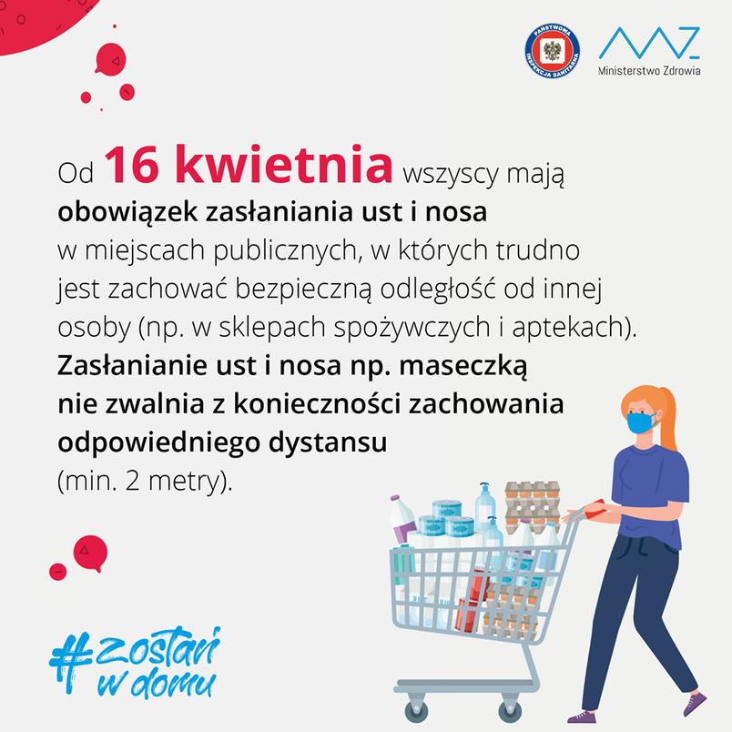 Obowiązek noszenia maseczki w miejscach publicznych od 16 kwietnia