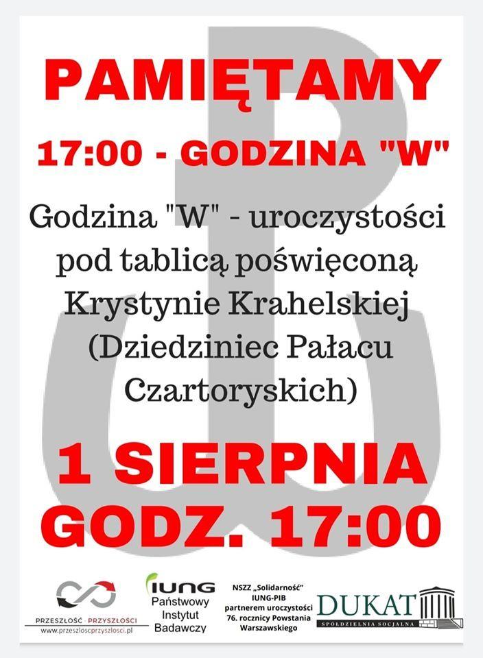 Uroczystości 76. rocznicy wybuchu Powstania Warszawskiego 1 sierpnia 2020 Puławy, dziedziniec Pałacu Czartoryskich