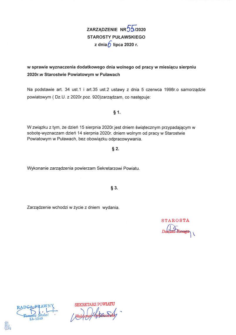 Zarządzenie Starosty Puławskiego.