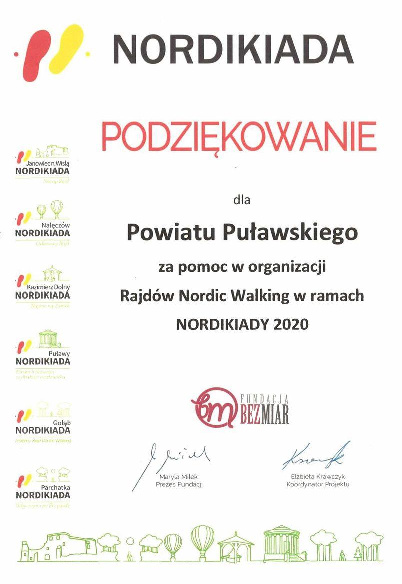 Fundacja BEZMIAR składa podziękowanie dla Powiatu Puławskiego za wsparcie organizacji Rajdów Nordic Walking w ramach Nordikiady 2020, odbywających się w Janowcu, Nałęczowie, Kazimierzu Dolnym, Puławach, Gołębiu i Parchatce.