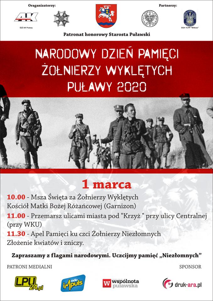 Obchody Narodowego Dnia Pamięci Żołnierzy Wyklętych w Puławach, 1 marca 2020 r., godziny 10.00 -11.30, msza św., przemarsz pod Krzyż przy WKU,złożenie kwiatów. Sylwetki żołnierzy, loga organizatorów i patrona Starosty Puławskiego.