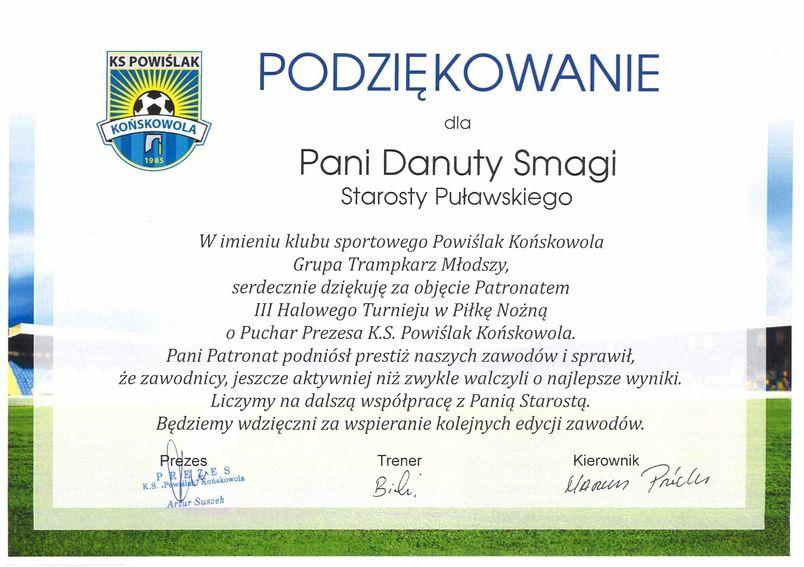 Podziękowanie dla Starosty Puławskiego Danuty Smagi od Klubu Sportowego Powiślak Końskowola