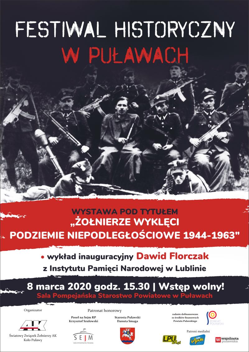 Plakat informujący o Festiwalu Historycznym w Puławach.