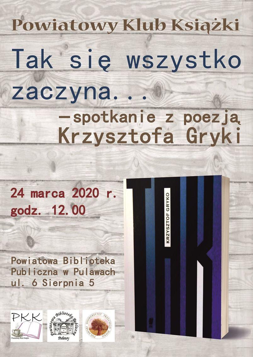 Plakat informujący o spotkaniu Powiatowego Klubu Książki