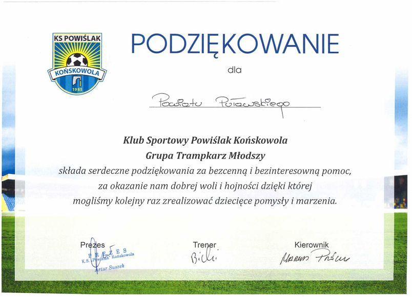 Podziękowanie dla Powiatu Puławskiego od Klubu Sportowego Powiślak Końskowola