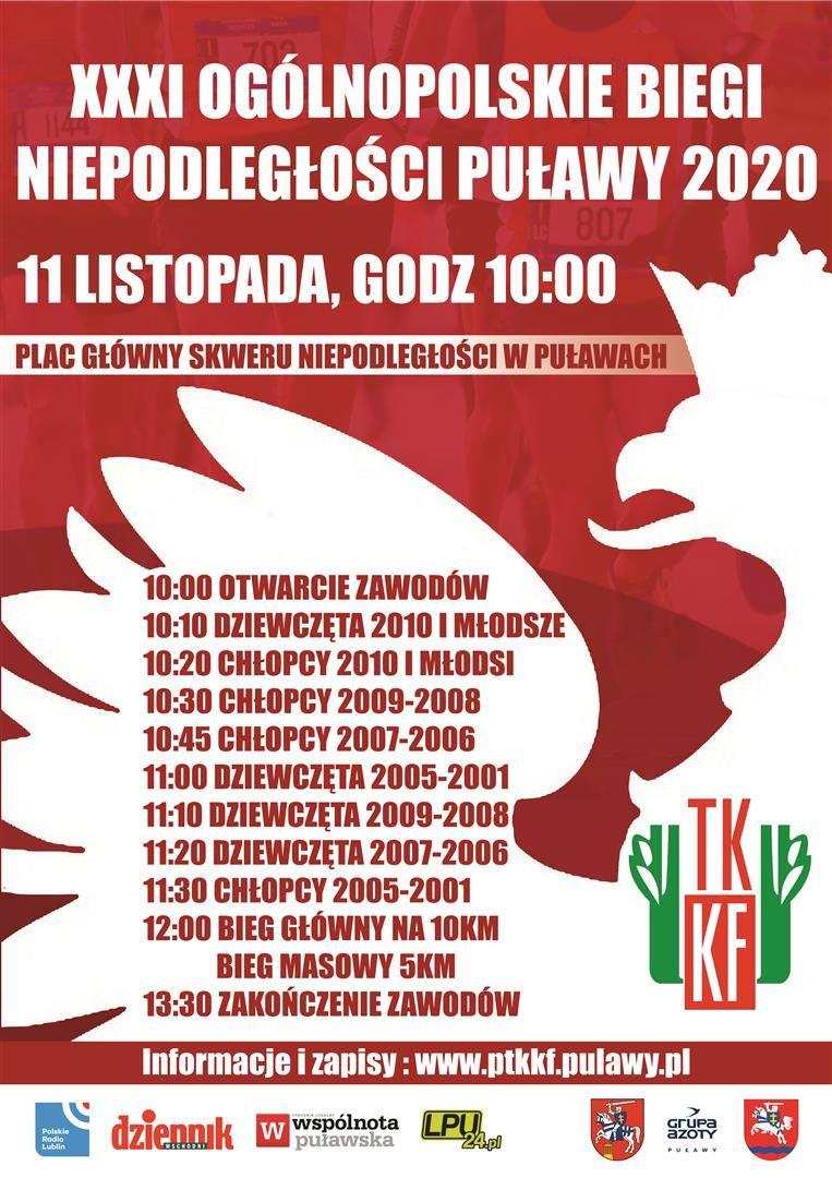 XXXI Ogólnopolskie Biegi Niepodległości – Puławy 2020 11 listopada