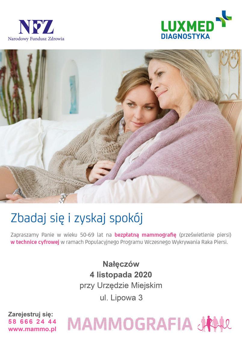 Badanie Mammografia, Nałęczów – 4 listopada 2020 w godzinach od 9.00 do 16.00 za Nałęczowskim Ośrodkiem Kultury, ul. Lipowa 6